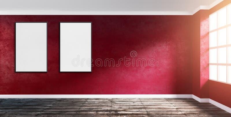 Zaal hoek met robijnrode rode pleistermuur met affiche omhoog spot stock illustratie