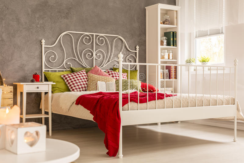 Zaal met bed en boekenkast stock afbeelding