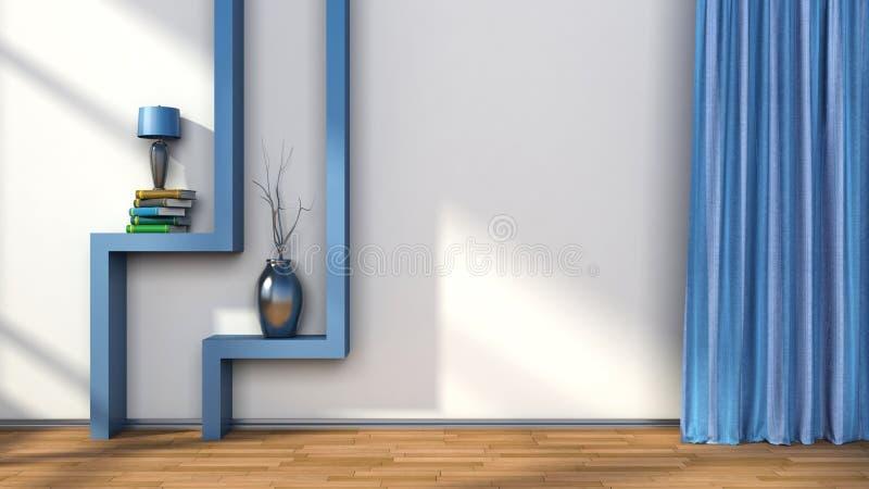 Zaal Met Blauwe Gordijnen En Plank Met Lamp 3D Illustratie Stock ...