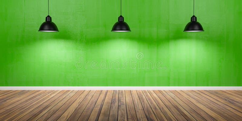 Zaal met drie lampen, concrete groene muur en houten vloer 3D Illustratie stock illustratie