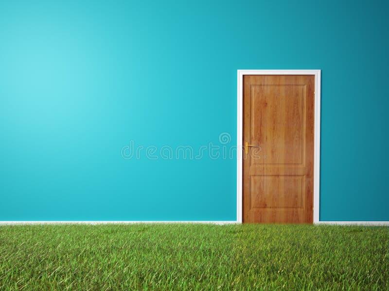 Zaal met een gras behandelde vloer royalty-vrije illustratie