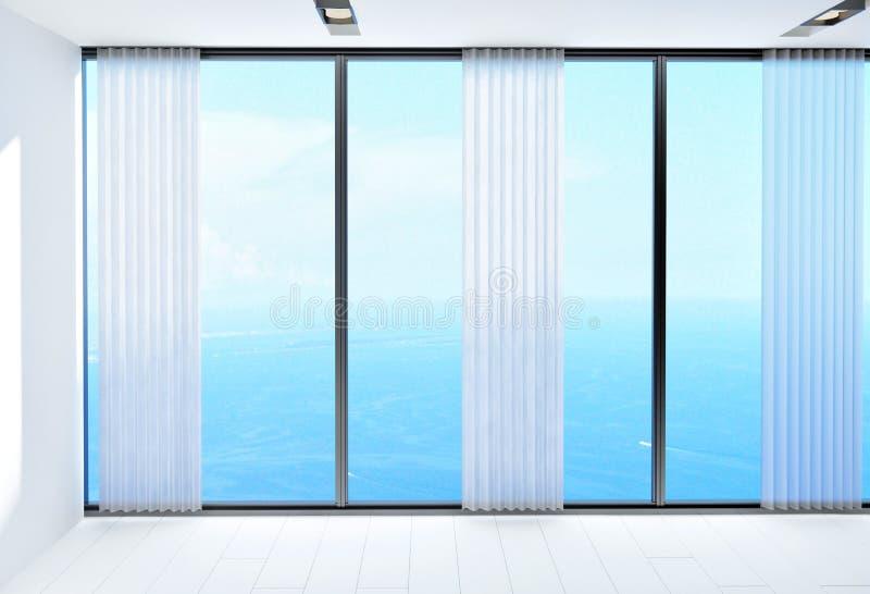 Zaal met een mooie mening van de oceaan vector illustratie