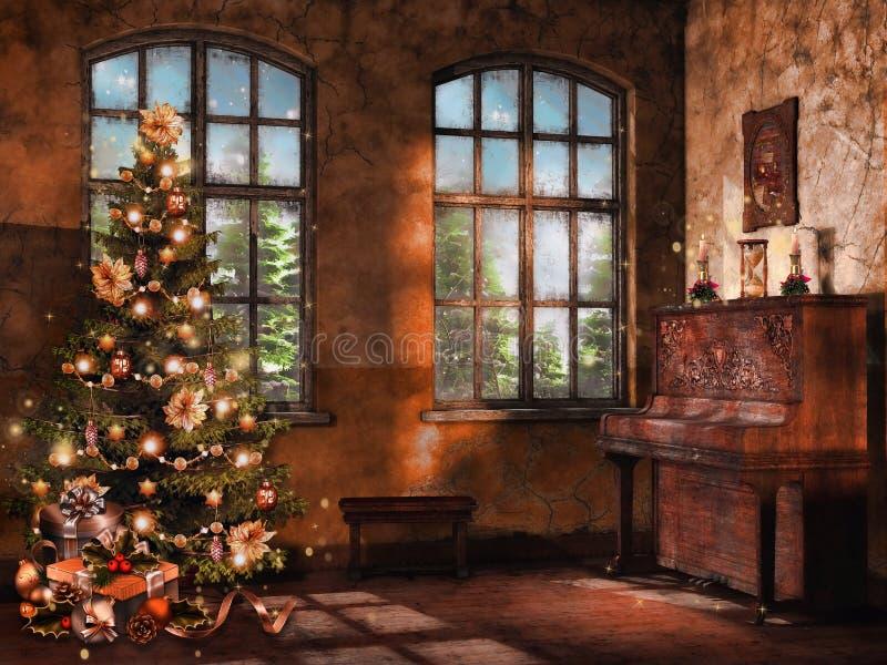 Zaal met een piano en een Kerstboom