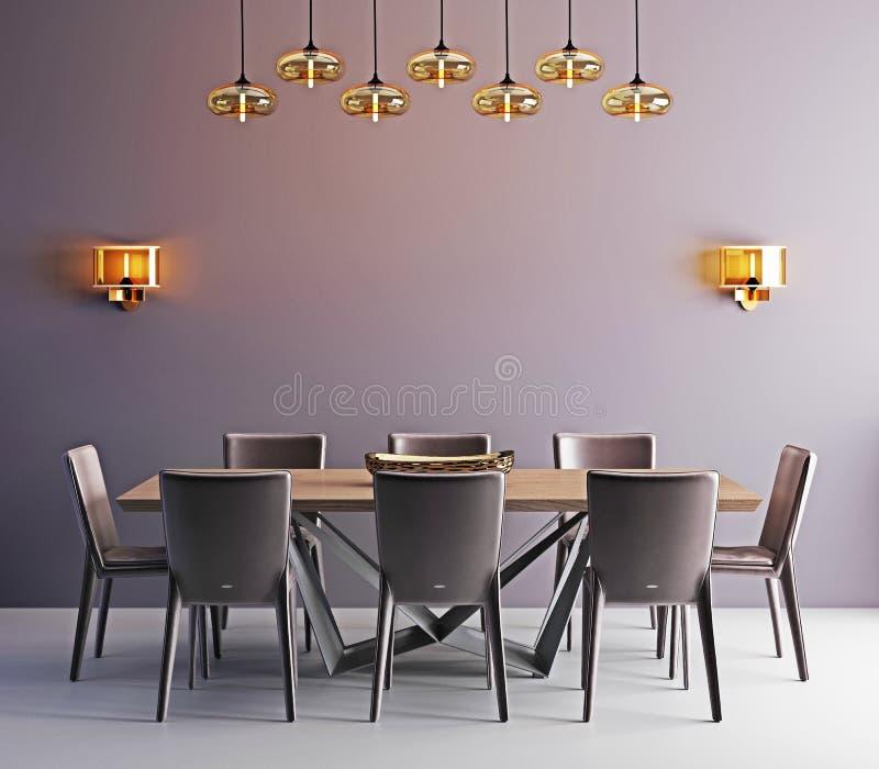 Zaal met eigentijdse eettafel, witte stoelen en moderne lam royalty-vrije illustratie