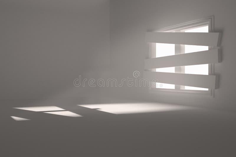 Zaal met gegrenst omhoog venster vector illustratie