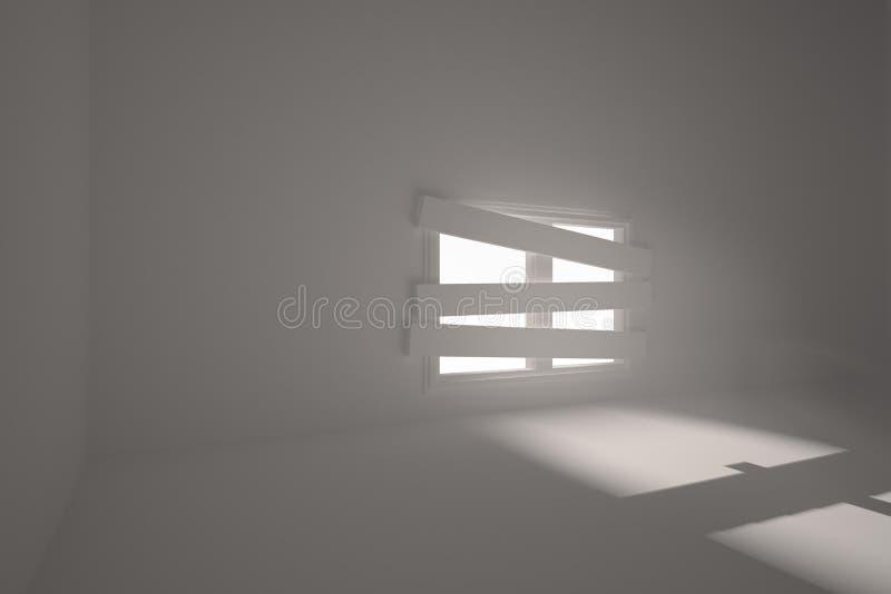 Zaal met gegrenst omhoog venster royalty-vrije illustratie
