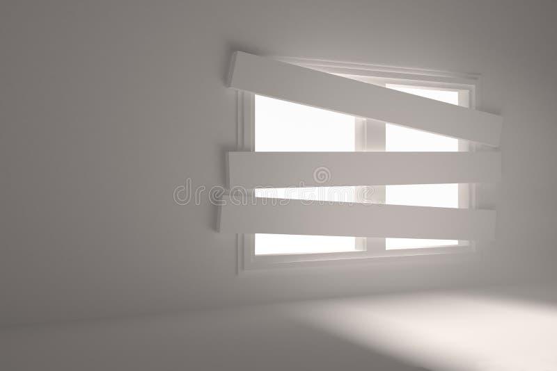 Zaal met gegrenst omhoog venster stock illustratie