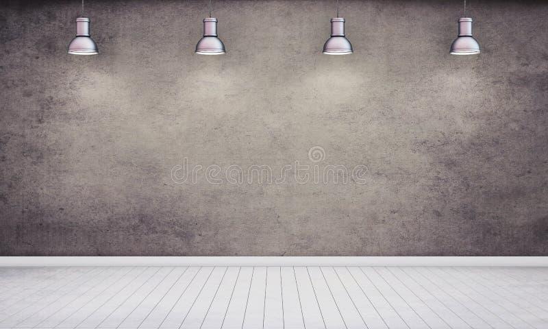 Zaal met gepleisterde donkere muur en lampen royalty-vrije illustratie