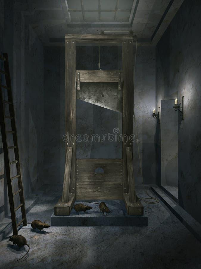Zaal met guillotine royalty-vrije illustratie