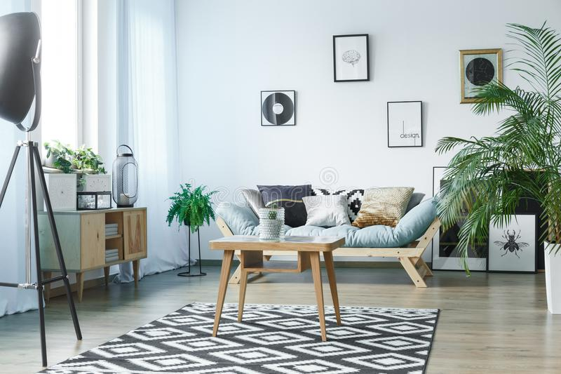 Zaal met houten rustiek meubilair stock foto