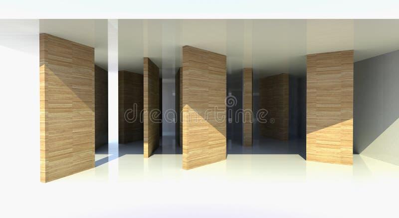 Zaal met houten verdeling, abstracte architectuur royalty-vrije illustratie