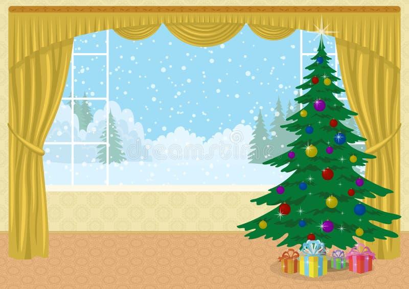Zaal met Kerstboom en giften stock illustratie