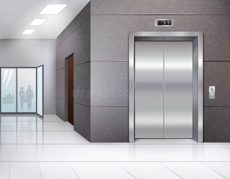Zaal met lift stock illustratie