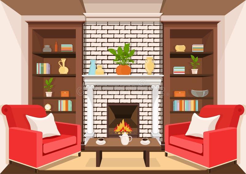 Zaal met open haard, vlak binnenlandse, kleurrijke tekening, vectorillustratie woonkamer met het branden van brand, kabinetten me stock illustratie