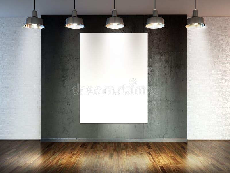 Zaal met schijnwerperlampen, lege ruimte met houten bevloering en bakstenen muur als achtergrond of achtergrond voor productplaat royalty-vrije illustratie