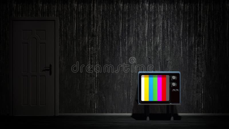 Zaal met uitstekende TV Afhankelijk van TV stock illustratie
