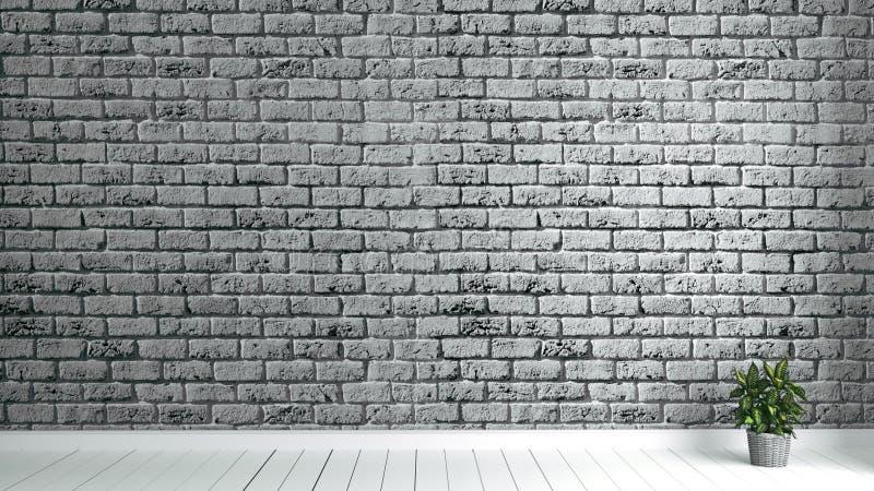 Zaal met vloer witte houten en bakstenen muurachtergrond het 3d teruggeven stock illustratie