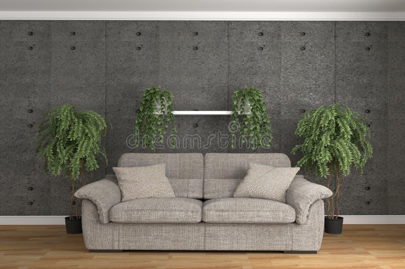 Zaal moderne zolderstijl met installaties en bank het 3d teruggeven royalty-vrije illustratie