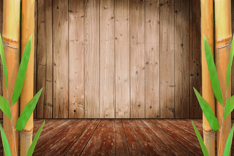 Zaal ontwerp met bamboeriet en houten vloer royalty-vrije stock afbeelding