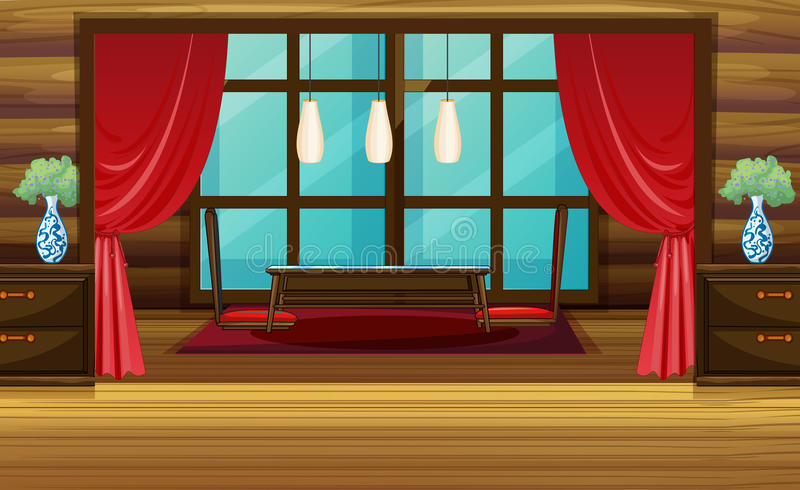 Zaal ontwerp met rode gordijn en zetels vector illustratie