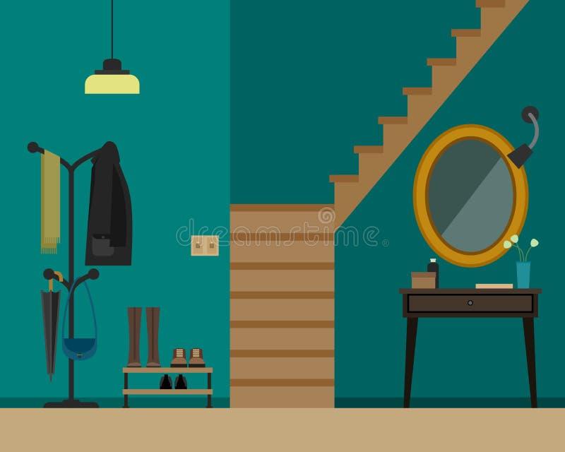 Zaalbinnenland met meubilair stock illustratie