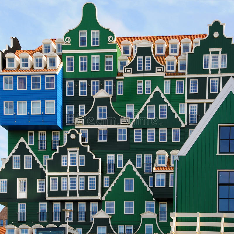 Zaandam architecture. Facade of modern hotel with structure of traditional dutch buildings in Zaandam, Netherlands