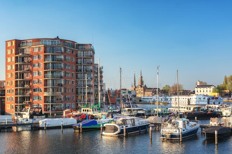 Impression of Zaandam located along the river Zaan seen from the marina royalty free stock photo