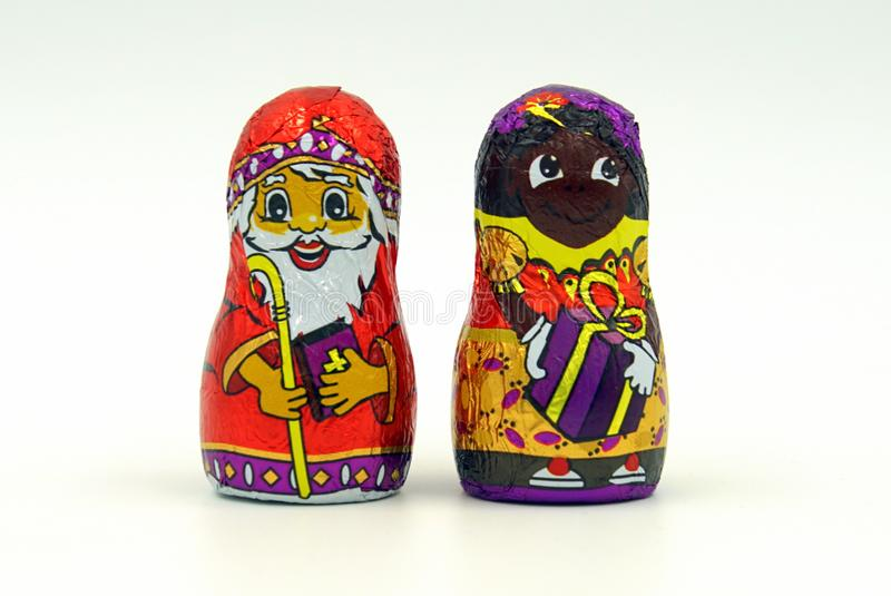 Chocolate candy St. Nicholas and Pete. Zaandam, The Netherlands - November 17, 2018: Chocolate candy St. Nicholas and Pete, the main figure of the typical royalty free stock photography