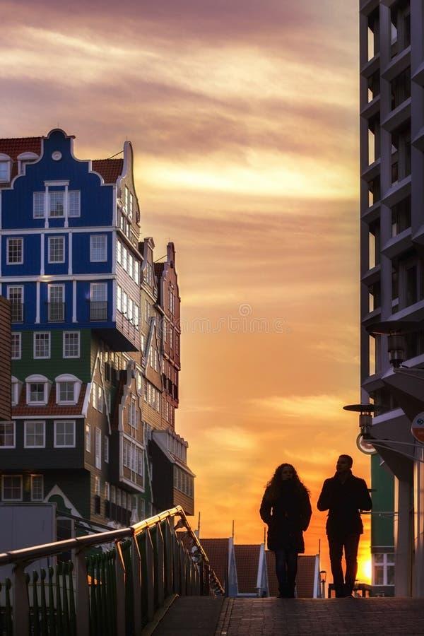 Zaandam Street Sunset stock images
