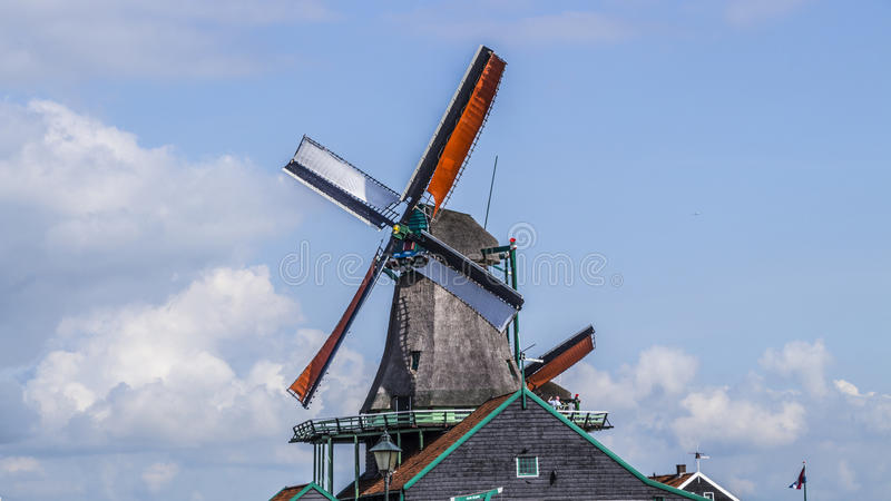 Zaanse Schans, moinhos de vento foto de stock