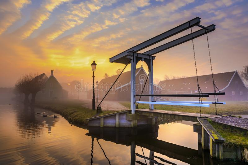 Sunrise in the Zaanse Schans stock photography