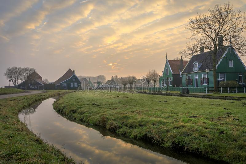 Sunrise in the Zaanse Schans stock photo
