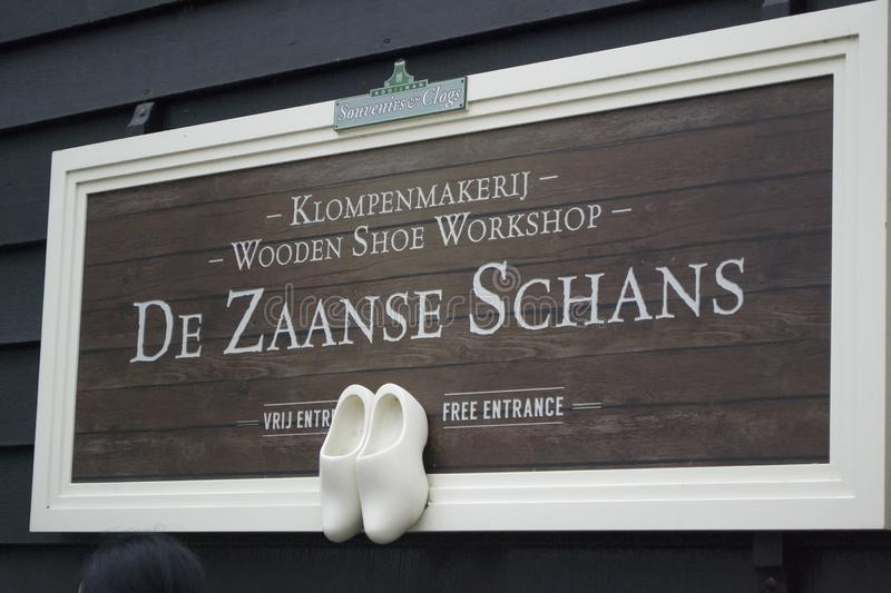 Zaanse schans sign on the wooden shoe workshop. stock images