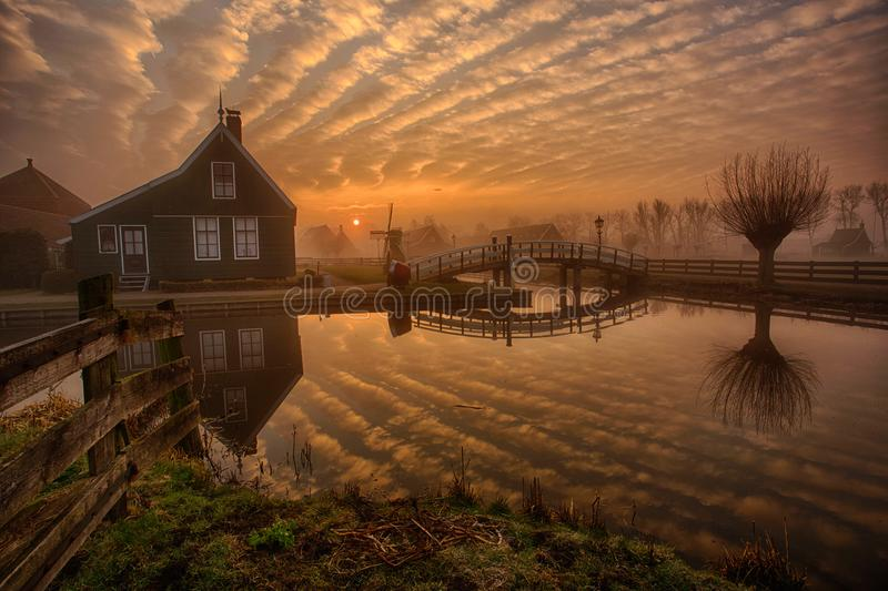 Zaanse Schans at Sunrise royalty free stock photos