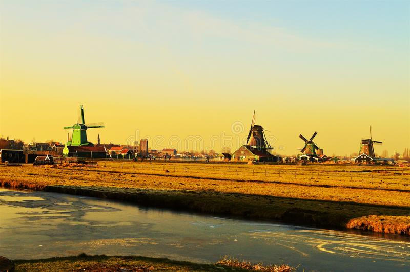 Zaanse Schans Village, Holland, panoramic view stock images