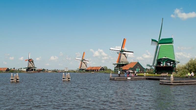 Zaanse Schans windmills stock photography