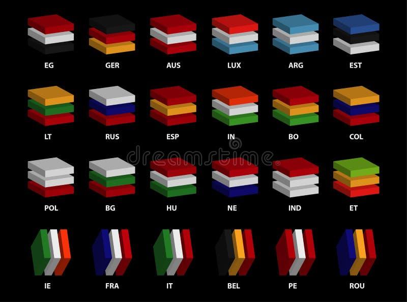 24 zaawansowanego 3D-layered kraju flaga ikon ` Editable wektorowego ` zdjęcia stock