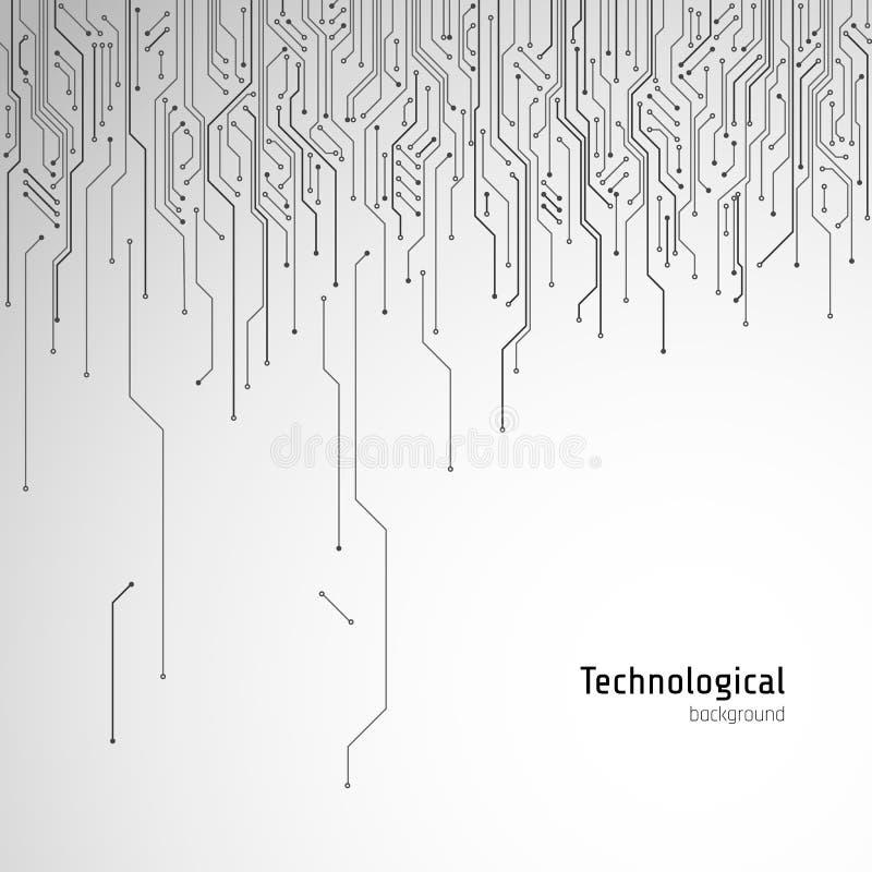 zaawansowany technicznie deskowy obwód Technologiczny wektorowy tło ilustracja wektor