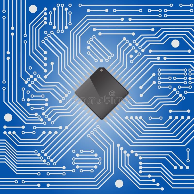 Zaawansowany technicznie elektronicznego obwodu deska na błękitnym tle ilustracja wektor