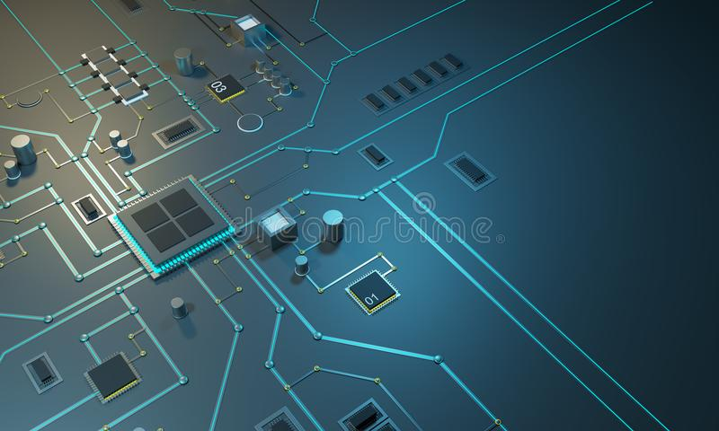 Zaawansowany technicznie elektroniczny PCBwith procesor, mikroukłady i jarzyć się cyfrowych elektronicznych sygnały, ilustracji