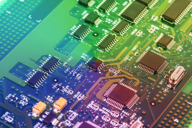 Zaawansowany Technicznie obwód deski zakończenie up, makro- pojęcie technologie informacyjne zdjęcie royalty free