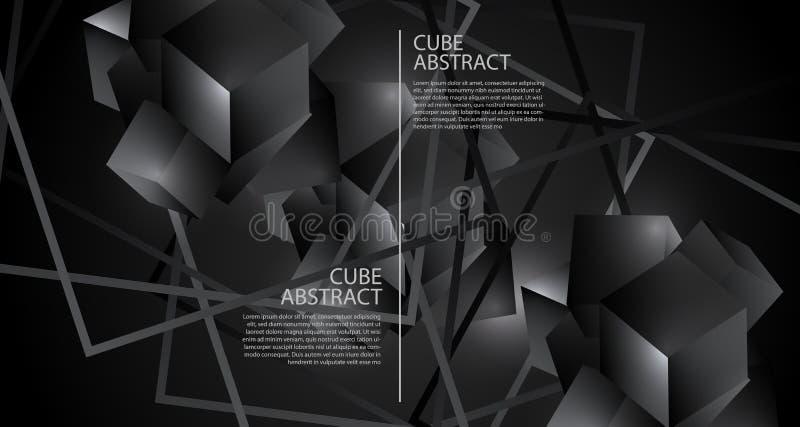 Zaawansowany technicznie struktura 3D poligonalnego geometrycznego krystalicznego sześcianu tła kruszcowy szablon royalty ilustracja
