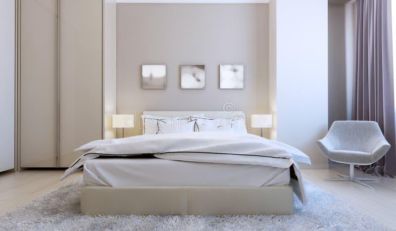 Zaawansowany technicznie sypialni wnętrze zdjęcia stock