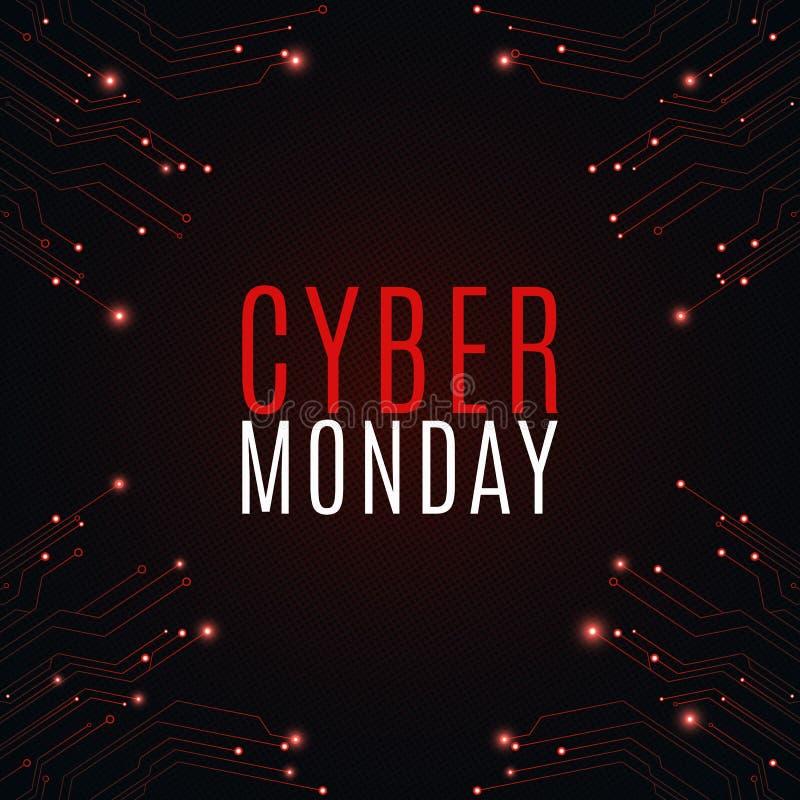 Zaawansowany technicznie tło od komputerowego obwodu deski dla cyber sprzedaży Poniedziałek wielka sprzedaż Rozjarzeni neonowi cz ilustracja wektor