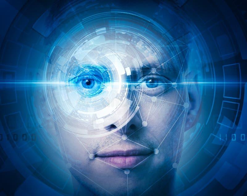 Zaawansowany technicznie twarz obraz cyfrowy zdjęcia royalty free