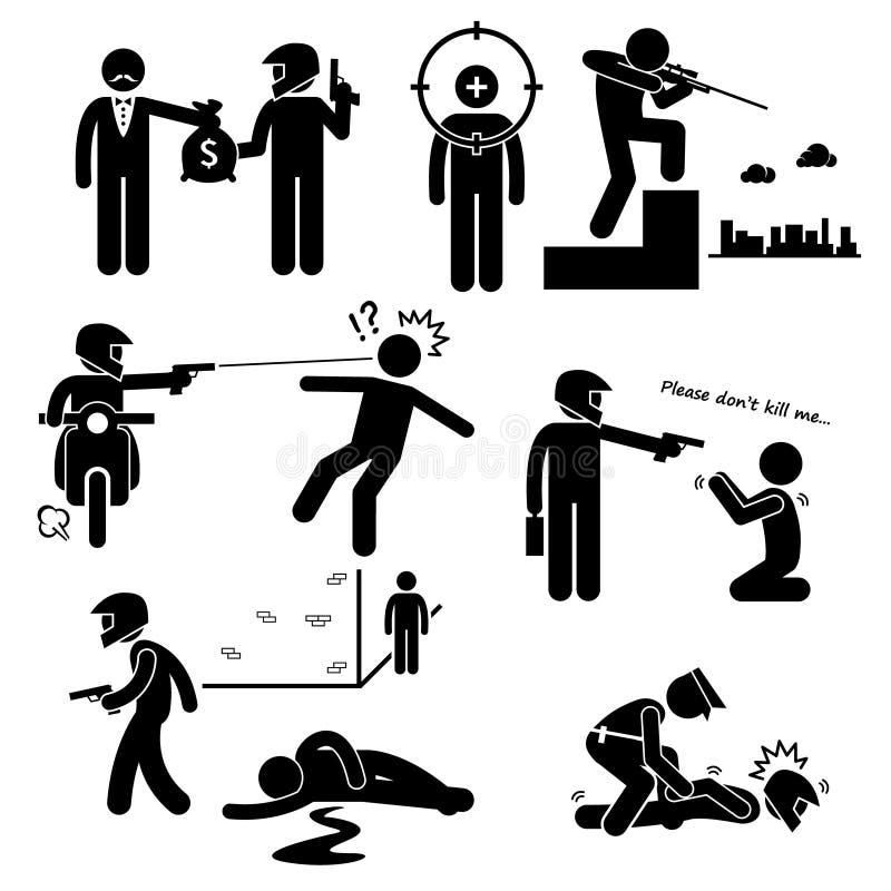 Zabójstwa Hitman zabójcy morderstwa rewolwerowiec Clipart ilustracja wektor