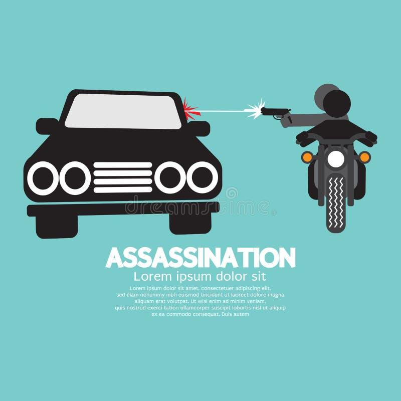 Zabójstwo strzelanina Od motocyklu ilustracja wektor