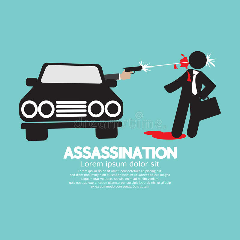 Zabójstwo strzelanina Od samochodu ilustracja wektor