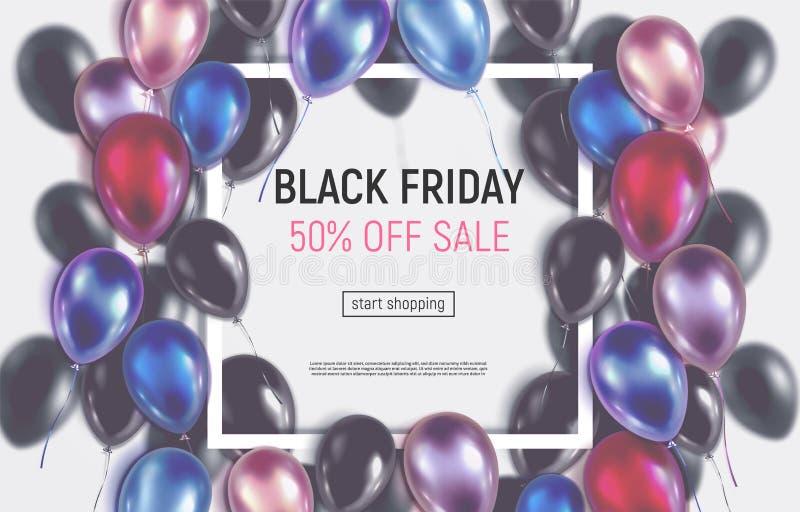 Zabarwiający Black Friday sprzedaży sztandar z realistycznymi balonami ilustracji