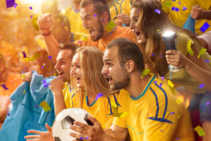 Zabaw fan w stadium arenie zdjęcie stock